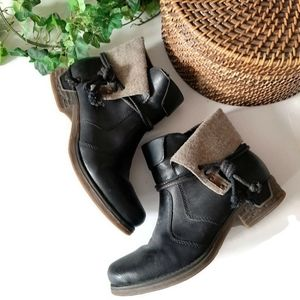 RIEKER brown leather quality side tie warm booties